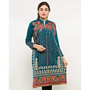 FISH Blue Embroidered Kurta