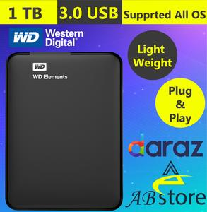 WD 1TB External HARD DRIVE Western Digital Element 1 TB Portable HARD DISK DRIVE 1 TERA BYTE FOR SMART TV  Laptop  PS3  PS4  macbook  chromebook