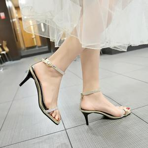Women's Fashion Stilettos Open Toe Pump Heel Sandals Belt Buckle Dress Sandals