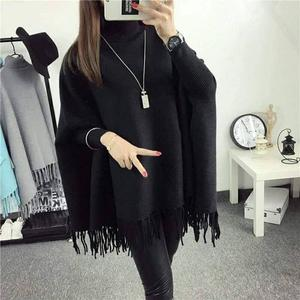 High Quality Batwing knitted shrug sweater women Autumn winter fashion tricot tassel jumper sweater Poncho shawl cardigan sweaters
