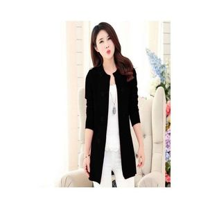 Black Button Style Long Coat For Women