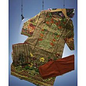Floret Brown Unstitched Suit For Women - 3 Pcs