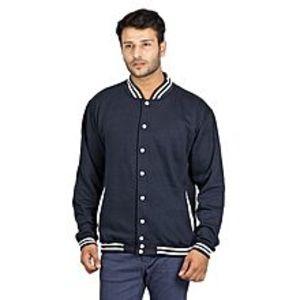 AybeezNavy Blue Fleece Baseball Jacket for Men