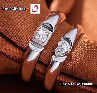 Adjustable heart-shaped Cubic Zirconia Crystal Love Couple Ring Men Women Romantic Wedding Ring birthday gift