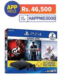 PS4 HITS Bundle 500GB + Horizon Zero Dawn Complete, Uncharted 4, & Gran Turismo + 3 Month PS Plus