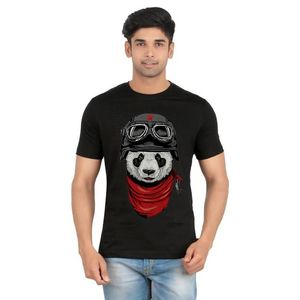 Ace Black Cotton  Panda Printed T-Shirt for Men