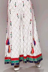 Ladies Embroided Stich Palazo (Trouser ) In Linen WInter Collection