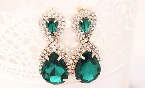 Studs Women Droplets Shining Gold Plated Crystal GreenDrop Earrings Women
