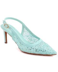 """ELDORA"" Sling Buckle Strap Closed Toe Sequins Designed Net Stiletto Heel Sandals  L31276"
