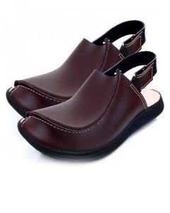 Woodland Brown Leather Traditional Peshawari Sandals for Men