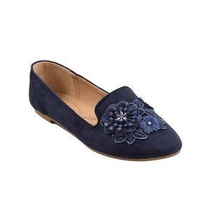Navy Blue Artificial Leather Womens Pumps 071-267