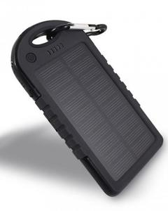 Solar Power Bank with Dual USB Ports - Black
