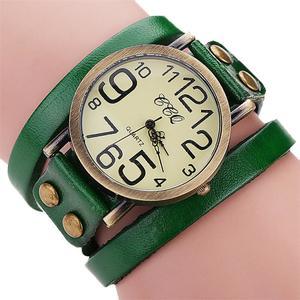 CCQ Brand Vintage Cow Leather Bracelet Watch Men Women Wristwatch Quartz GN