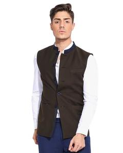 Olive Green Cotton Waistcoat For Men