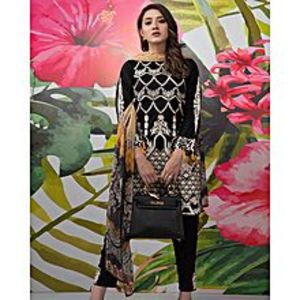 Nimsay Black Embroidered Lawn (Fel0050-Ld) 3 Pcs Unstitched