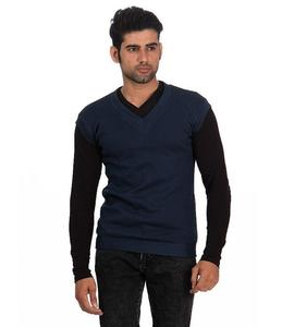 Blue V-Neck Fleece Sweater For Men