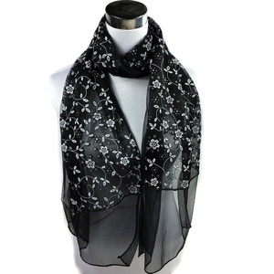 MissFortune Fashion Lady Embroidered Scarf Lace Sheer Burntout Floral Mantilla Shawl Wrap