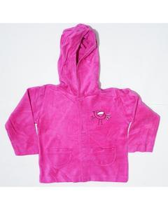 Pocket Style Printed Pink Fleece Hoodie For Babies