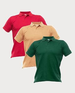 Pack of 3 - Multicolour Polycotton Polo T-Shirts for Men