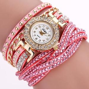 Women Luxury Crystal Women Gold Bracelet Quartz Wristwatch Rhinestone Watches
