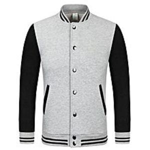 GonshopGrey Baseball Jacket For Men
