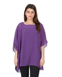 Weight less Tops chiffon poncho with printed contrast