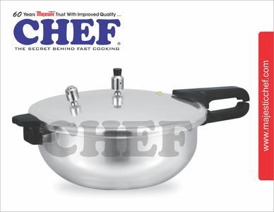 Chef  Karahi Cooker 3 Liters 2 in 1 wok cooker pressure cooker in karahi cookware