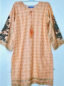 Peach - Stylish Embroidered Shirt/Kurta For Women - Stitched