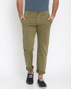 Men Brown Straight Fit Solid Chinos
