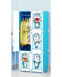 Doraemon Hanging & Storage Kids Cabinet & Wardrobe - Blue & White