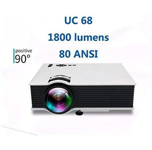 DSstyles UC68 Multimedia Home Theatre 1800 Lumens LED Projector HD 1080p White US Plug