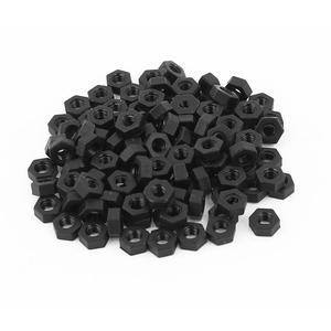 RXDZ Metric M3 Thread Nylon Insert Lock Screw Fastener Hexagon Hex Nuts Black - 100PCS