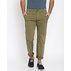 SA Bazaar Men Brown Straight Fit Solid Chinos