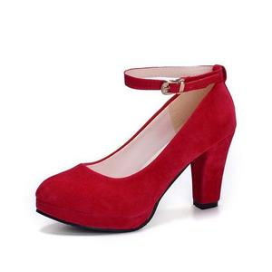 Flock Sling Black High Heels Pumps Women Shallow Square Heels Cusual Shoes (Black)