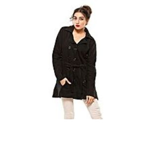 DUA's Fashion Black Fleece Long Coat With Front Pockets For Women