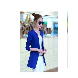 Blue Fleece Trench Long Coat For Women