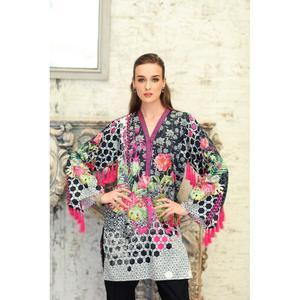 So Kamal Winter Collection  Grey Cotton Satin Printed 1PC -Unstitched Shirt DPF18 498 EF01167-STD-DGR