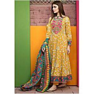 HyperZoneYellow Floret Embroidery Lawn Unstitched Suit For Women - 3 Piece