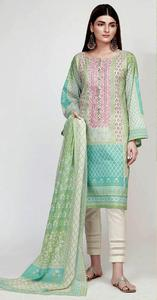 Embroidered Khaadi Lawn Un-Stitched Replica Dress for Women