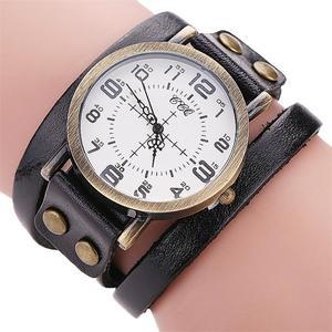 CCQ Brand Vintage Cow Leather Bracelet Watch Men Women Wristwatch Quartz BK