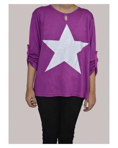 Purple Viscose Tunic for Women