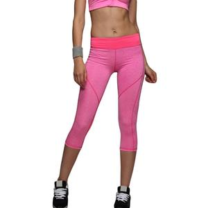 Women Yoga Capri Pants Sport Fitness Running Tights Quick Drying - Pink