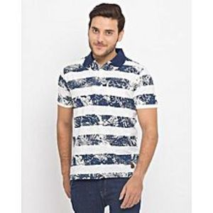 ZEDAGEWhite And Blue Cotton & Polyester Strip Floral Ace Polo Shirt- Zt3052