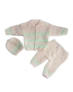 Multicolor Woolen 3 Pcs Collar Sweater Set for Newborn