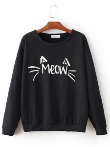 Black Fleece Sweatshirt Meow Printed For Women