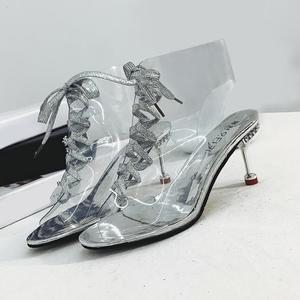 Women Sexy Crystal Beads Transparent Fish Mouth Strap Stiletto High Heel Shoes