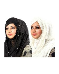 Pack of 2 - Black & White Net Hijabs - PK004