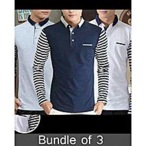 super bazarPack Of 3 Strips Pocket T-Shirt'S