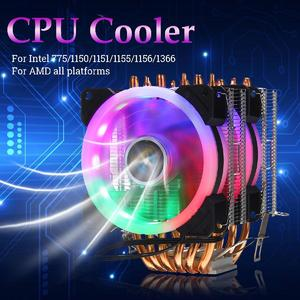 Free Shipping + Flash DealCPU Cooler 6 Heatpipe 3 Pin RGB 2xFan For Intel  775/1150/1151/1155/1156/1366 AMD