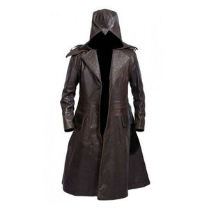 GHOST FAUX LEATHER HAND MADE Dark Brown Long Coat for Men